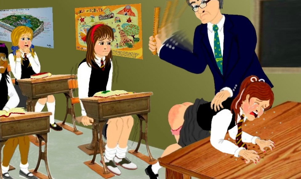 Teacher kneeled down excited spank